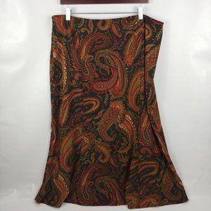 New Cato Women's Plus Brown Paisley Modest Skirt